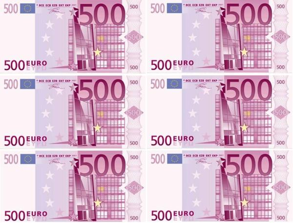Вафельная картинка для торта «500 Евро»
