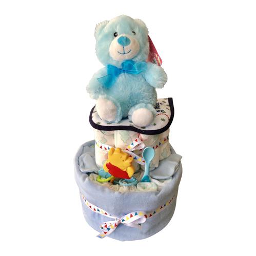2 tier boy nappy cake with bear