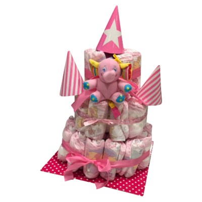 3 tier girl nappy cake in pink with elephant