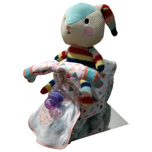 Girl nappy tricycle with colourful bunny