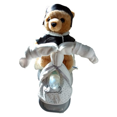 Unisex nappy tricycle with pilot teddy