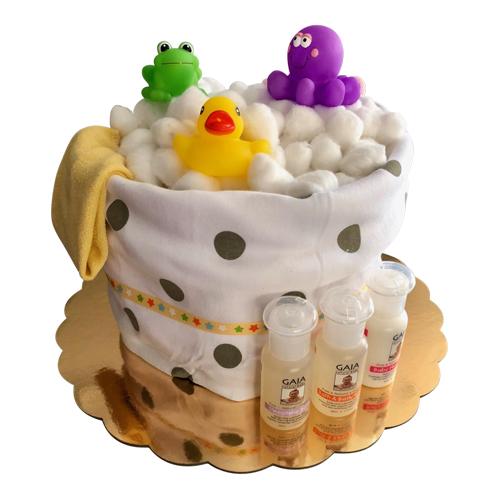 Unisex splish splash nappy cake in yellow
