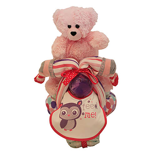 Pink nappy tricycle with teddy