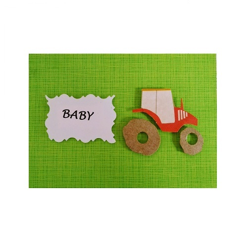 green gift card with tractor on it