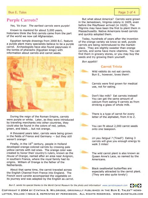 Purple Carrot article by Cynthia S. Wildridge © 2004 Bun E. Tales™ newsletter