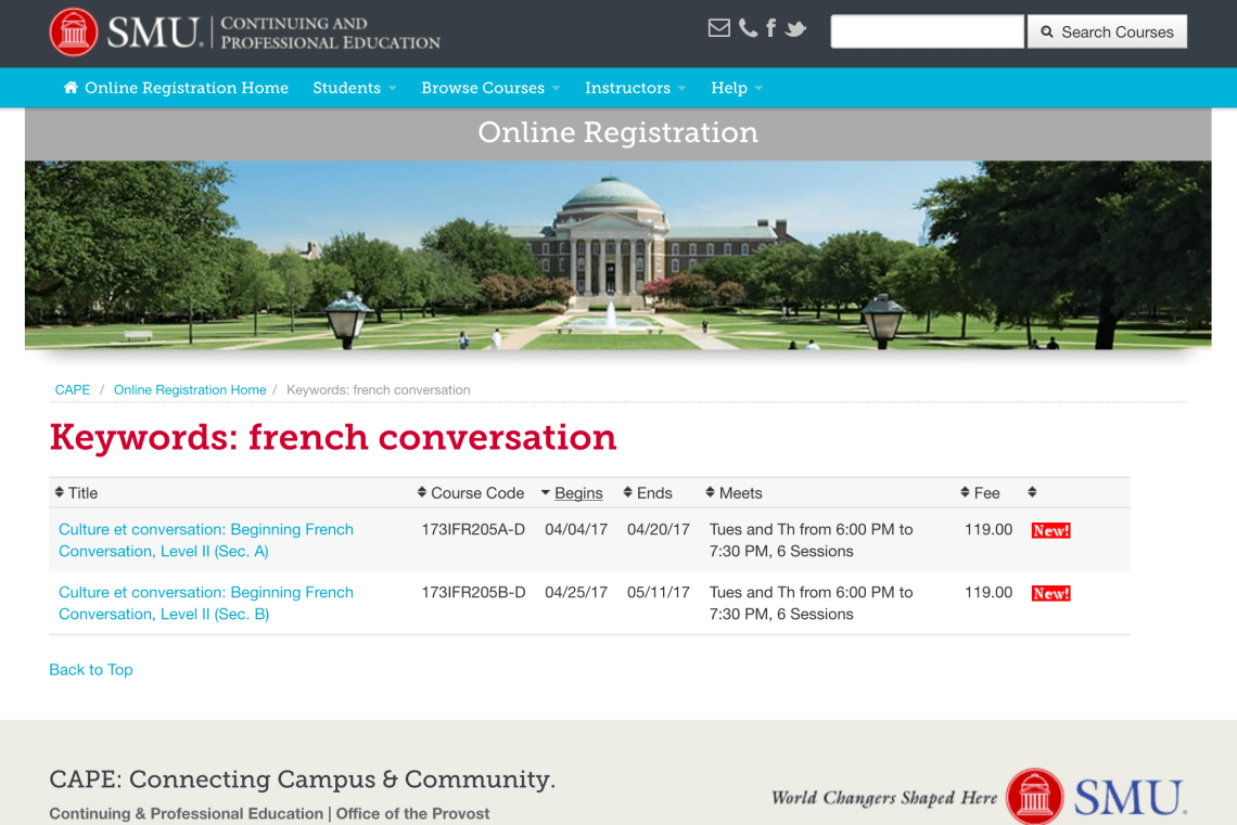 Speak French: Culture et conversation at SMU in Dallas, TX