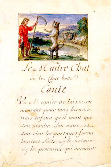 Charles Perrault's fable Le chat botté is used in a course for children on French Fairy Tales created and taught by Cynthia Wildridge bunetales.com