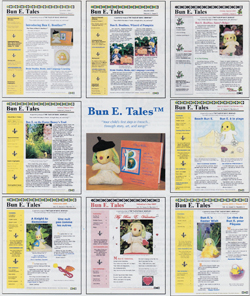 A montage of the first 8 issues of Bun E. Tales™ newsletter