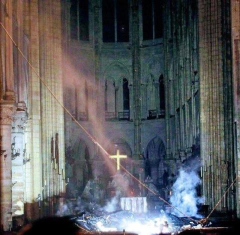 The alter at the cathedral of Notre Dame in Paris survives the devastating fire of April 15, 2019.