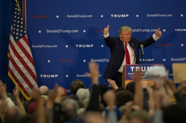Tyngsborough, MA, Oct 16th 2015 - GOP presidential runner Donald Trump at a rally on Friday. (Photo by: Nikita Sampath/BUNS)