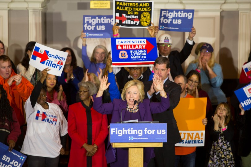 BOSTON, 29th Nov, 2015: The Mayor of Boston Marty Walsh endorses Democratic candidate Hillary Clinton at Hard Hats for Hillary, an event where union workers showed their support for the candidate, at Faneuil Hall. (Photo by: Nikita Sampath)