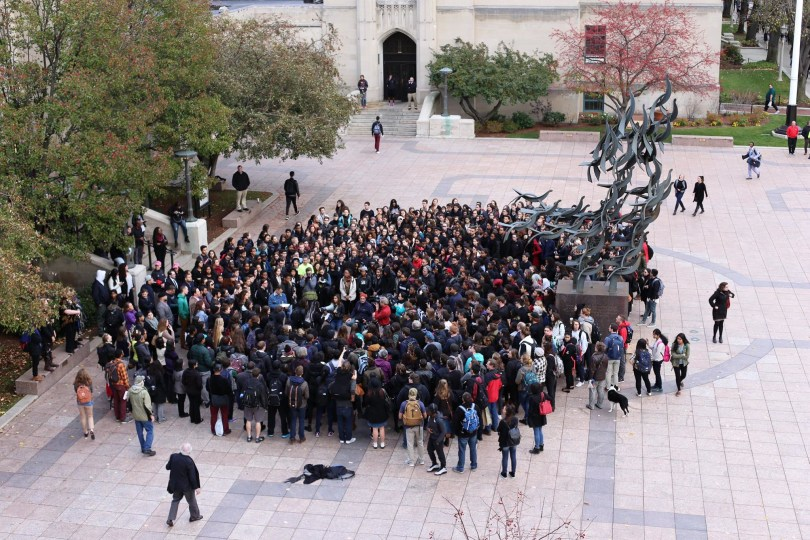 Boston University students rally in support of University of Missouri students on Friday, Nov. 13, 2015. (Photo courtesy Pamela Lightsey)