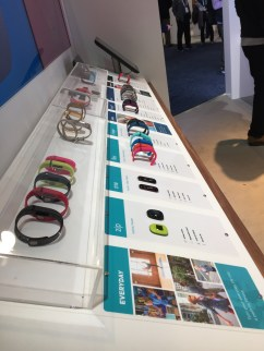 Fitbit's colorful lineup introduced a new product to CES: the Fitbit Blaze. Photo by Lauren Popovich.