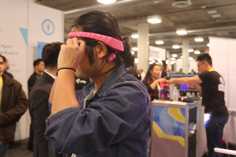 The BrainCo headband device uses two sensors to read brainwave activity