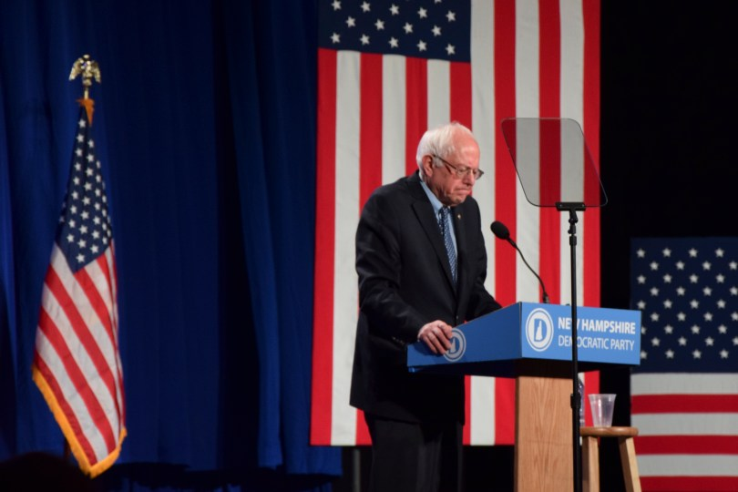 "Manchester, N.H., 5th Feb 2015: Bernie Sanders said leadership is about ""standing up"" at the McIntyre-Shaheen 100 Club Celebration. (Photo by: Emilio Doménech/BUNS)"