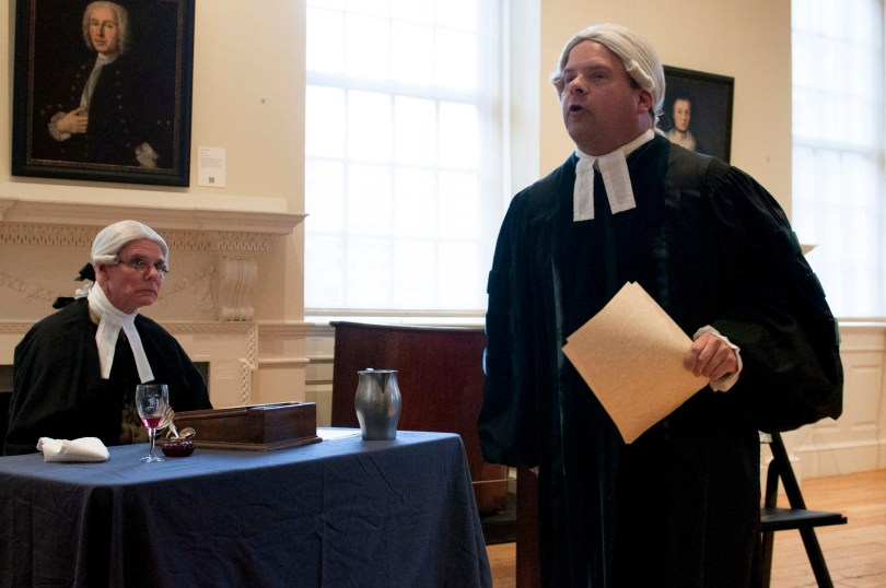"BOSTON, March 5th, 2016: Ed Hurley (L) and Mike LePage (R) play the roles of the prosecutor and the lawyer, John Adams, in the interactive play ""Trial of the Century"". The play is a part of the Old State House's program in commemoration of the Boston Massacre. (Marwa Morgan/BUNS)"