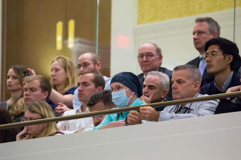 Audience members listen to Biden's speech. Photo by Graham Pearsall/BU News Service