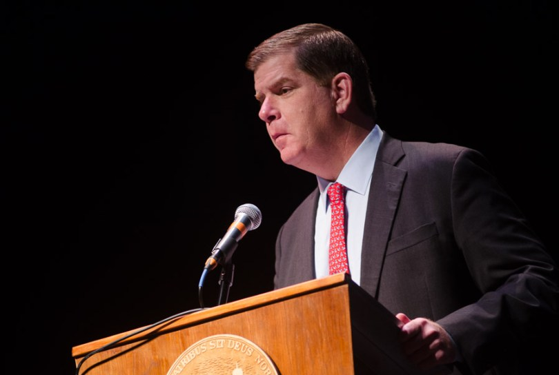 Mayor Martin J. Walsh speaks during Boston Talks Racism at the Cutler Majestic Theatre November 19. Photo by Crystal Milner/BU News Service