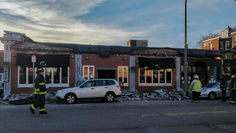 The Common Ground Bar & Grill's roof partially collapsed on Nov. 4, at around 3 p.m., injuring two people and leaving six trapped inside the building. Photo by Aaron Ye / BU News Service