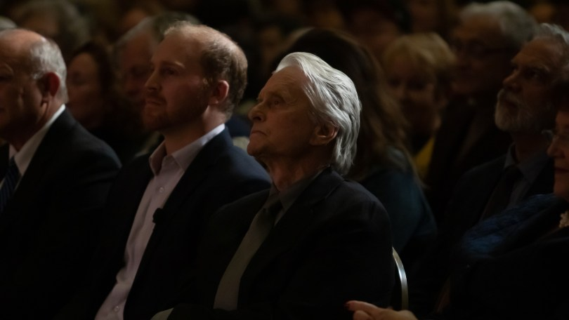 Michael Douglas received the Bette Davis Lifetime Achievement Award at Boston University on Nov. 28, 2018. During the event, a Bette Davis' short screening was presented. Douglas sat in the front row with the audience. Photo by Aaron Ye / BU News service.
