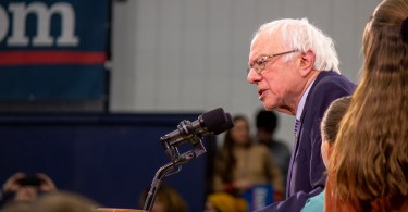Senator and presidential candidate, Bernie Sanders, speaks before a crowd of supporters after he led the polls in New Hampshire Tuesday night.
