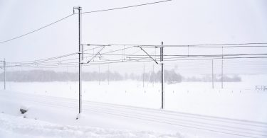 black electric post on snow covered ground