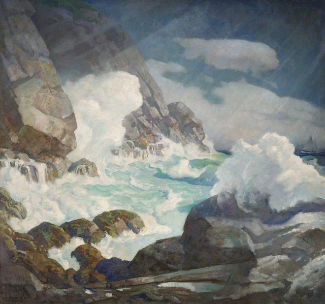 N.C Wyeth Maine Headland, Black Head, Monhegan Island, c. 1936-38Oil on canvas 48 ¼ x 52 ¼ inches Collection of the Farnsworth Art Museum, Bequest of Mrs. Elizabeth B. Noyce Image courtesy of the Farnsworth Art Museum
