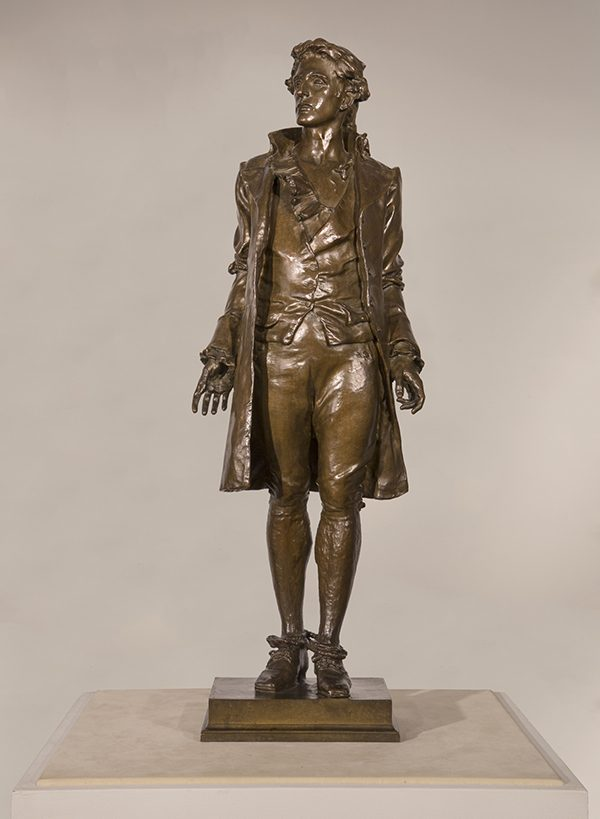 Frederick MacMonnies (American 1863-1937) Nathan Hale, 1890 Bronze, brown patina 28 3/8 x 9 1/2 x 6 3/8 in.