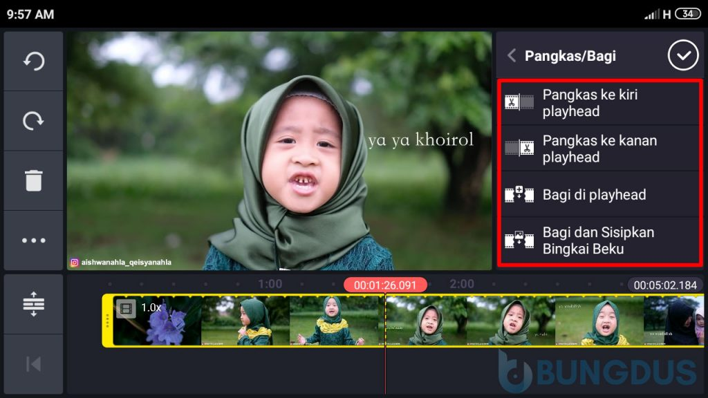 Cara potong video di kinemaster