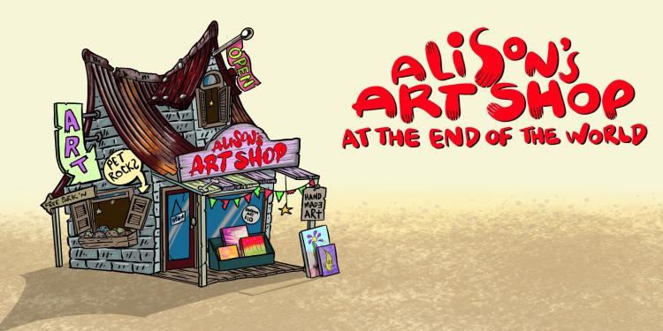 illustration of an old spooky art shop
