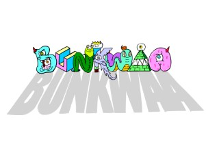 bunkwaa logo with monsters and letters