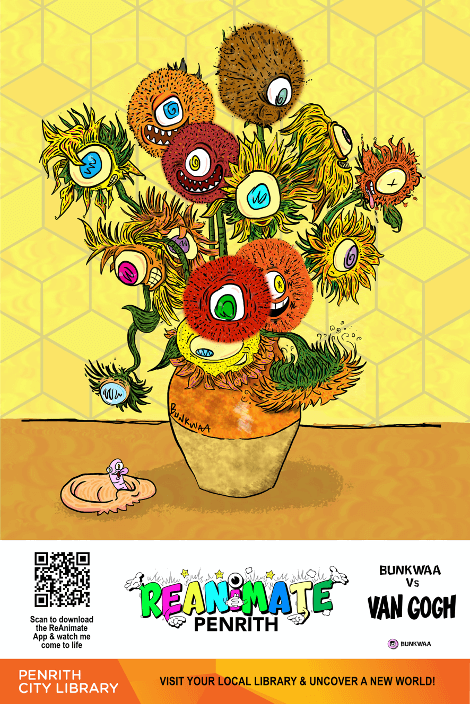 cartoon drawing of yellow and orange flowers in a vase