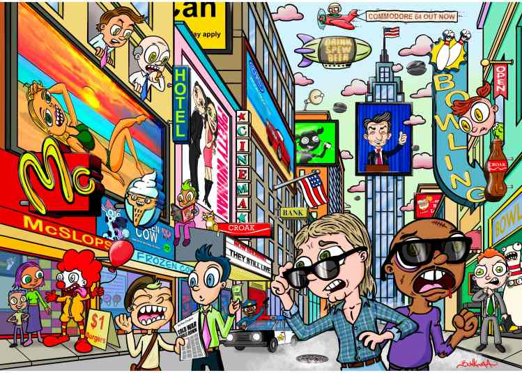 illustration of people in New York City with creatures