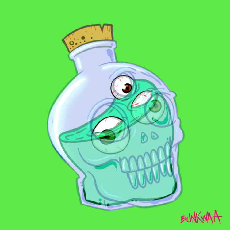 green background with drawing of a skull shaped bottle with a monster inside