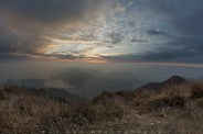 Moment after the short and beautiful sunset at the top of Lantau Peak in Hong Kong