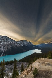 One of those warmer sunset up at the view point of Peyto Lake in the Canadian Rockies. Hope you enjoy. Have a good night!