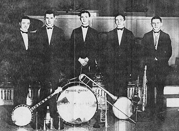 Sixteen year-old Bunny Berigan, pictured here with the Merrill Owen band in early 1925 at a place where they played for an extended period of time in Milwaukee, WI. Bunny commuted by train to the gig on weekends from his home in Fox Lake, where he still attended high school.