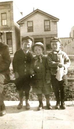 From Left to Right: Donald Berigan, Bunny's older brother; Bunny, and their cousin Charles Casey, Jr.; Fox Lake, Wisconsin, 1912