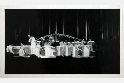 Berigan solos in front of his band in an unknown theater, spring 1937. This was the time when Bunny was breaking in his new big band before audiences in and around New York City.