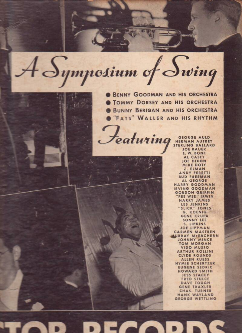 """""""A Symposium of Swing"""" was an album containing four 12-inch 78rpm records made by four different RCA Victor recording artists (Tommy Dorsey, Benny Goodman, Fats Waller, and Bunny Berigan), released in the fall of 1937. The disk Berigan made for this album contained """"I Can't Get Started"""" on one side and """"The Prisoner's Song"""" on the other."""