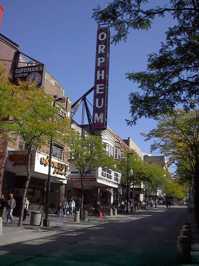 The Orpheum Theater in Madison, WI, where Berigan worked in the theater's orchestra in 1928-1929.