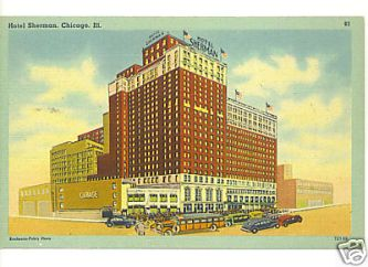 A post card from Hotel Sherman in Chicago. The Berigan band had a musical truimph there for six weeks in the summer of 1939. All the while, Bunny was being sucked into a quagmire of debt.