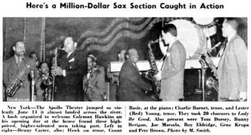 A blurb from Down Beat, June, 1940, reporting an all-star jam session that took place at the Apollo Theater in Harlem, to welcome jazz titan Coleman Hawkins and his new big band on their opening at the Apollo. Berigan greatly enjoyed the musical stimulation of such gatherings. His was one of very few white bands to be presented at the Apollo.