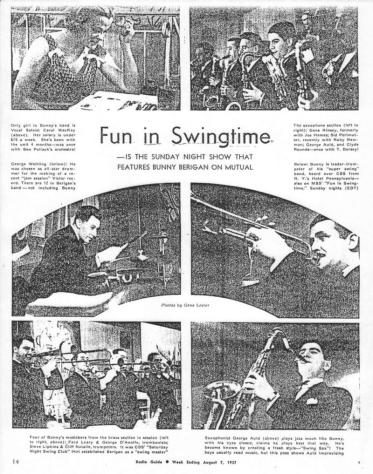 """Magazine feature on the new Berigan band, summer, 1937, explores Bunny's radio show """"Fun in Swingtime,"""" which was presented on the Mutual Broadcasting System."""