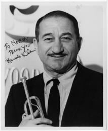 """Trumpet virtuoso Mannie Klein in the 1950s. In the early and mid 1930s in New York, Klein often worked with and substituted for Berigan in the radio and recording studios. His succinct appraisal of Berigan's impact on any band he played in: """"You didn't know sometimes if he was gonna show up for a session. But when he did show up--well, nobody played with the balls and the beat he did."""""""