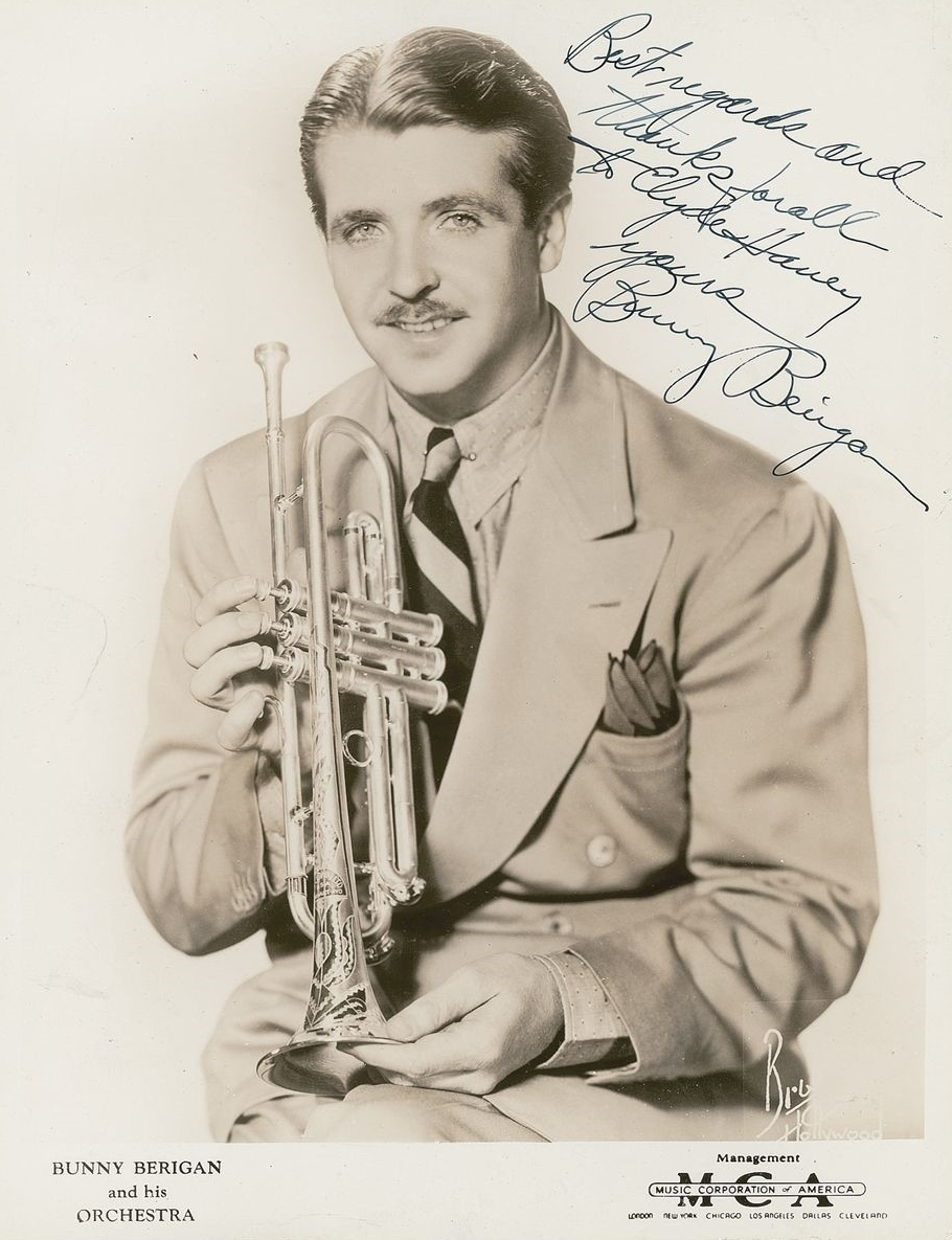 One of many poses from the June 1937 photo shoot set up for Bunny Berigan by his booking agency, Music Corporation of America.