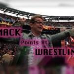 Macaulay Culkin pointing at Wrestlemania
