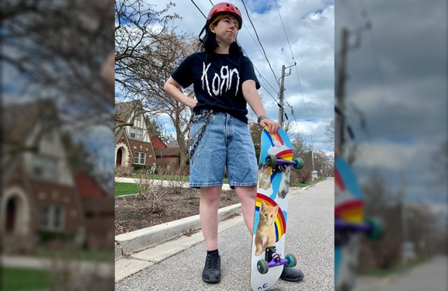 dressed like Tony Hawk Pro Skater