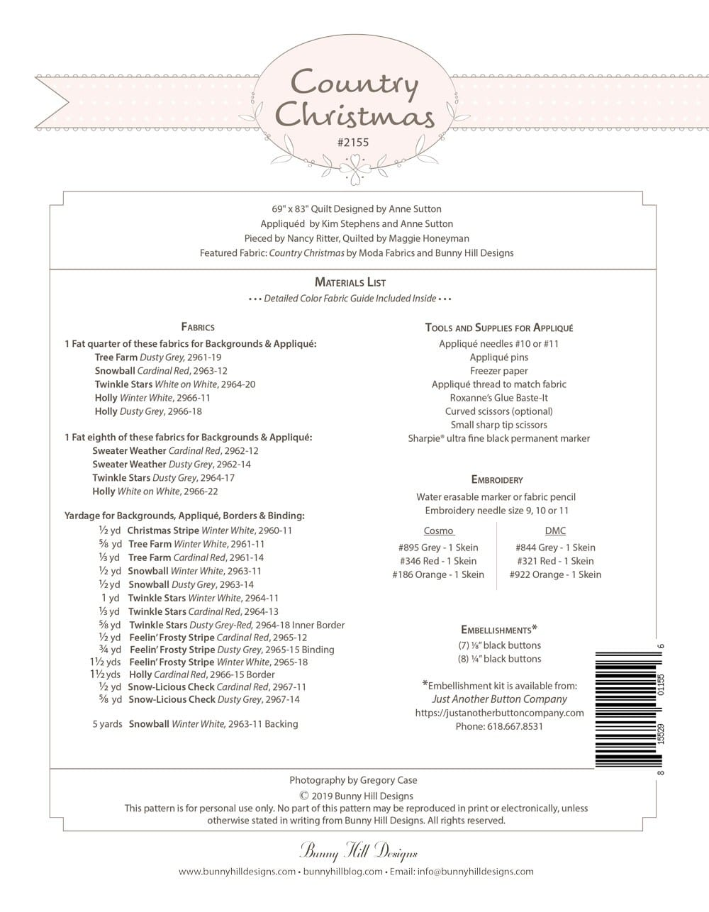Country Christmas Pattern Back