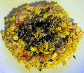 Dinner - a reheat quick fry up, with Japanese seaweed and sesame seed topping.